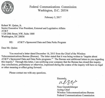 "FCC宣布放弃对四家运营商""免流量费""服务的网络中立性调查"