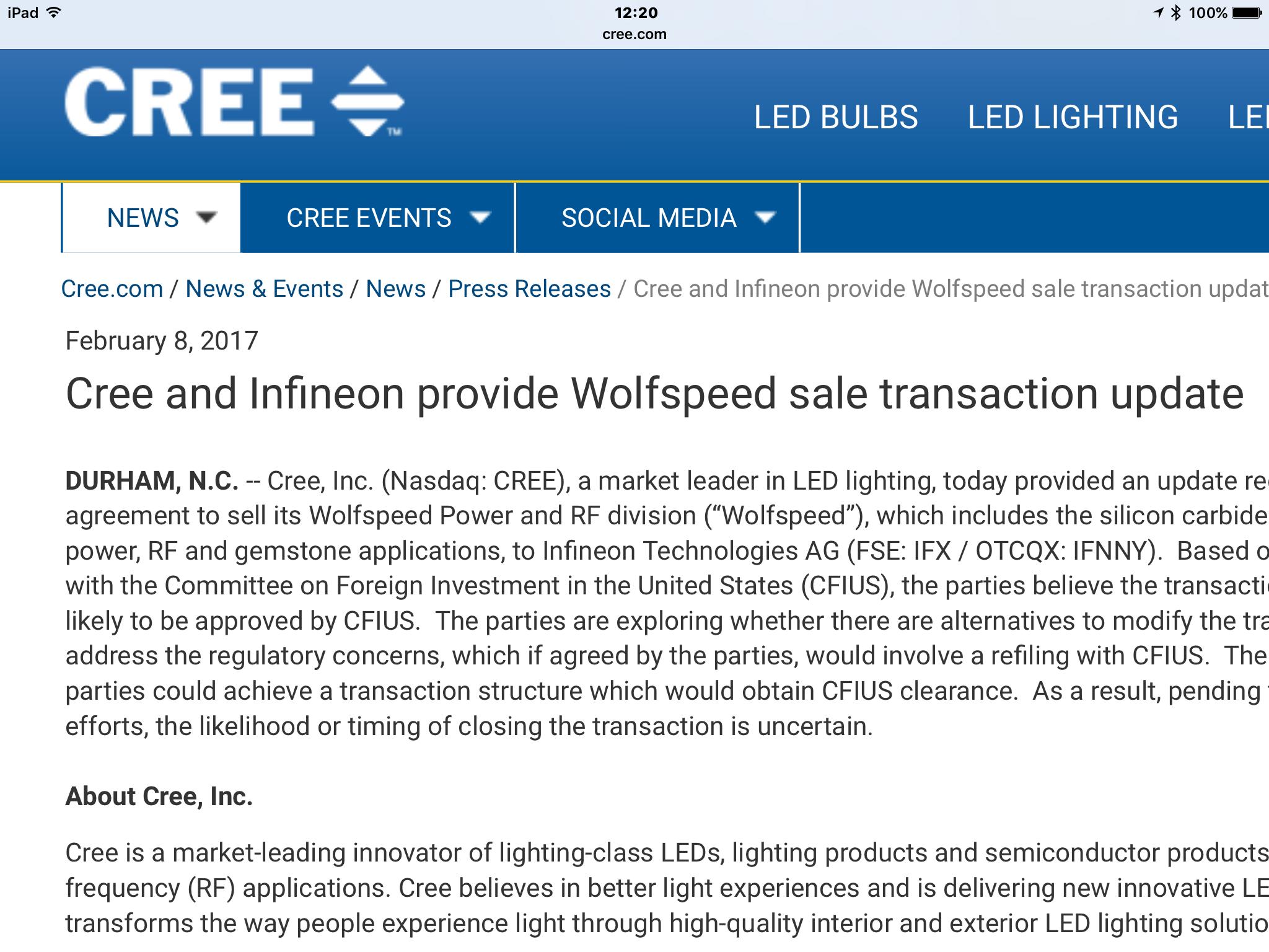 英飞凌收购Cree Wolfspeed功率与射频部门遇阻