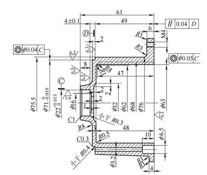 数控加工工艺 工件为电机外壳, 如图3所示, 为大批量生产, 材料是ad