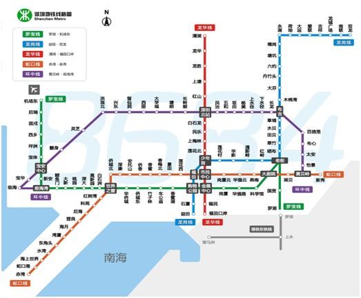 深圳地铁路线图如下所示