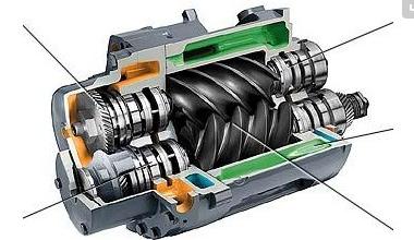 图3螺杆式单级压缩空压机工作原理