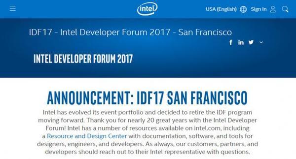英特尔宣布取消IDF开发者大会