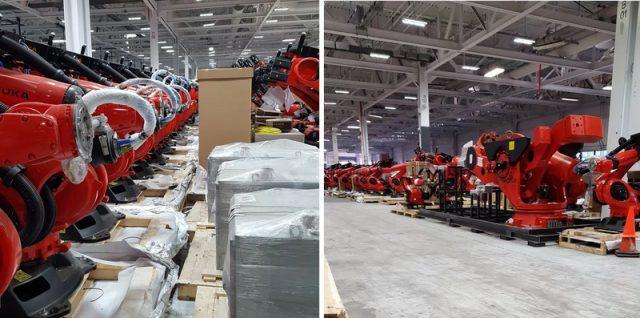 当然,这些机器人只是Model3大批量生产多条产线中的少数,除了库卡机器人供应商,特斯拉去年收购了德国自动化机器制造公司Grohmann Engineering,公司更名为特斯拉德国全自动化工厂。本月初,特斯拉宣布自动化工厂将结束与几家汽车制造商(戴姆勒、宝马、Volvo、博世等)的合作关系,全力以赴Model3制造机器人的生产工作。4月20日,媒体报导特斯拉自动化工厂也将在未来几周投入Model3生产制造机器人的工作。 作为对比,据Musk透露,2015年特斯拉ModelX量产工作火力全开时,整个产线