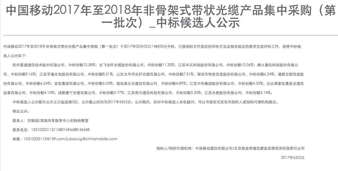 中国移动公布2017至2018年非骨架式带状光缆集采结果:富通、长飞等中标