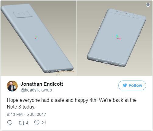Note 8被证实将沿用后置指纹传感器