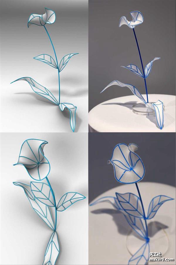 4D打印:在织物上3D打印平面曲线网络,自动收缩成3D结构