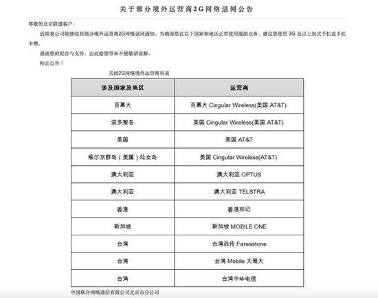中国联通卡的用户出国前需要看这里 2G网络取消了