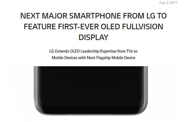 LG官方爆料:LG V30将搭载OLED全面屏