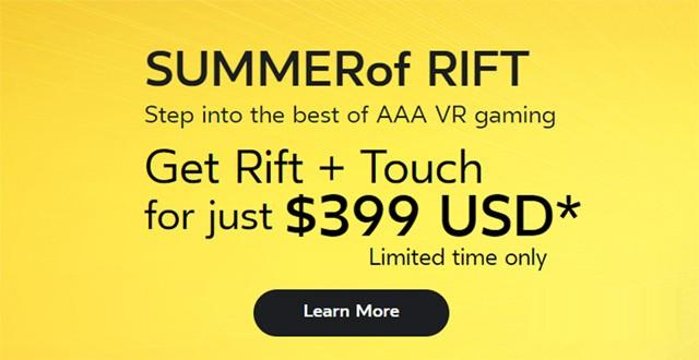 Oculus将延长VR头显设备夏日促销活动