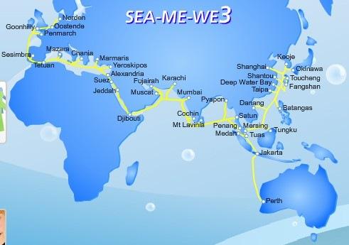 SEA-ME-WE3海底光缆新加坡-佩斯段出现故障