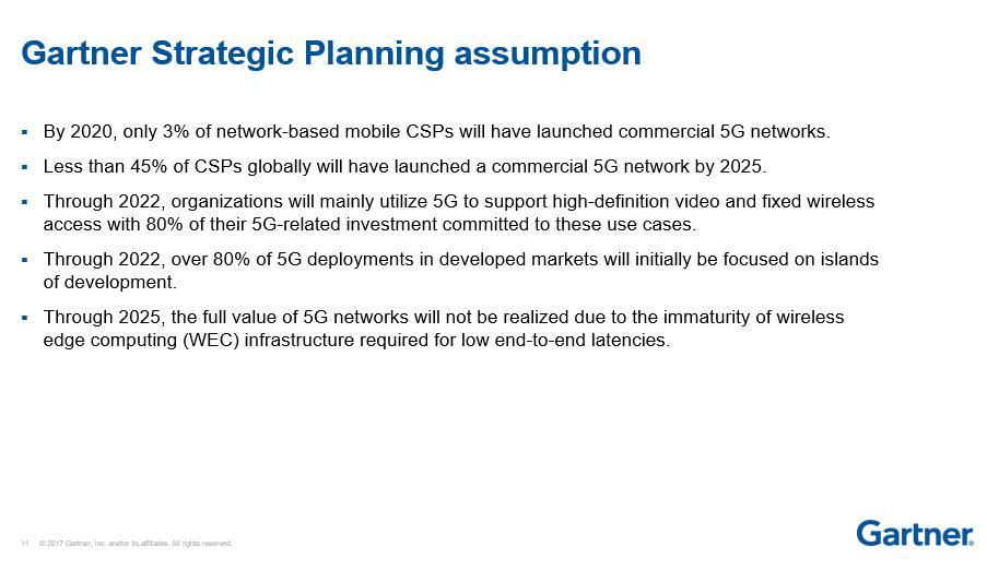 Gartner警示5G产业认知:LTE在未来五年内仍是主流架构
