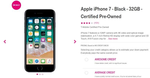 2400元!美国运营商T-Mobile上架二手iPhone 7