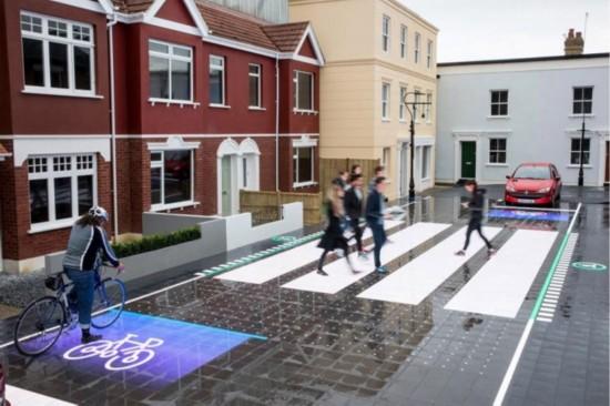英国新型LED路面可提示司机和骑车者有行人通过