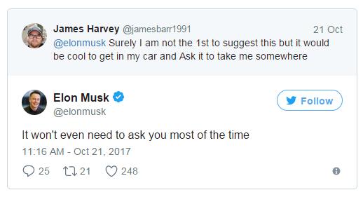 """马斯克:真正的自动驾驶是你""""不言语"""" 它自领会"""