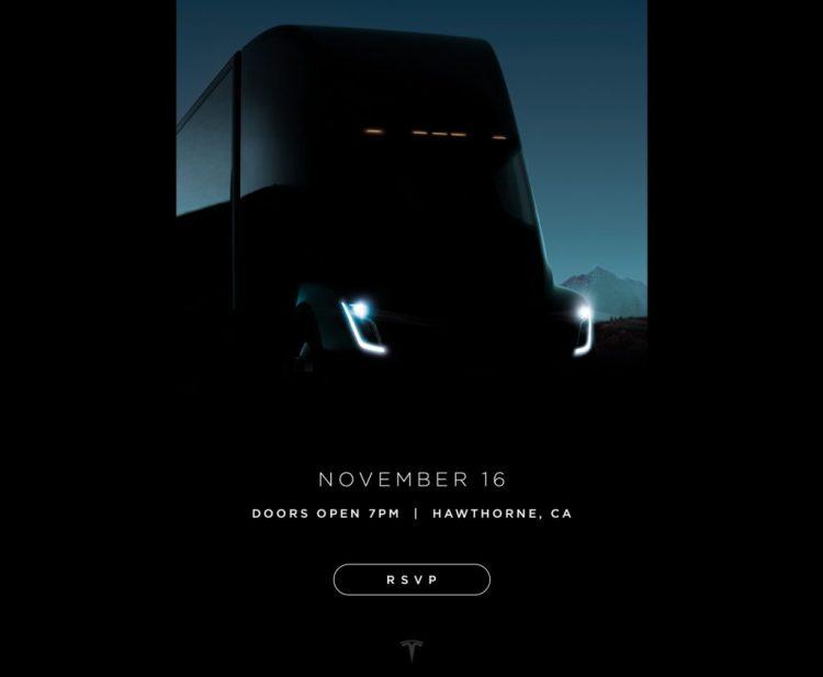 特斯拉发出邀请函 电动半挂卡车11月中旬发布
