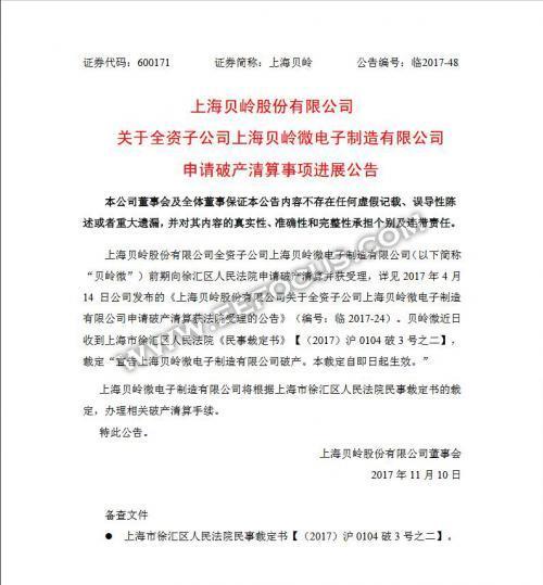 上海贝岭微电子宣布破产,新业务重组开始了?