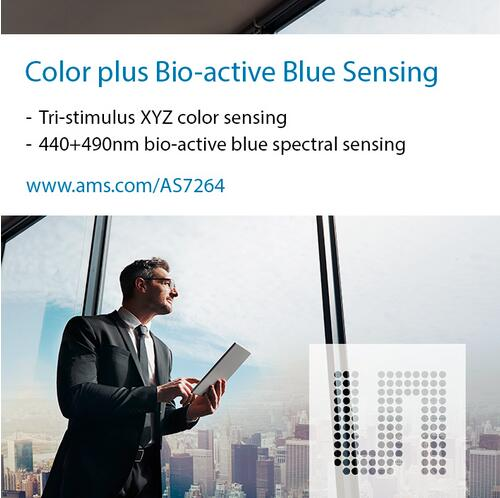 ams三刺激颜色传感器精确测量具有重大生物学意义的蓝光