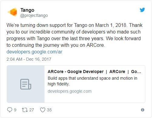 Tango计划凉了 谷歌将关闭Tango专注于ARcore