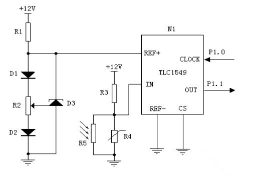 图4光信号取样电路 本文基于AT89C2051单片机的智能照明控制系统的设计原理与实现方法。首先根据设计要求用Protel DXP软件绘制出原理图,然后依据原理图选择元器件,在实验板上布置元器件并连接线路,对硬件电路进行测试,检查串行口是否选错,测量电源是否正常,复位电平是否正确,单片机是否起振等等。由于此设计是在相对理想的情况下设计,在实际应用时,需把灯光控制系统和放映设备电源分开。当应用于其他工作场所时,可根据实际需要添加或者减少部分模块,如在道路使用时,则不需要时间控制电路;在室内使用时,还可以添
