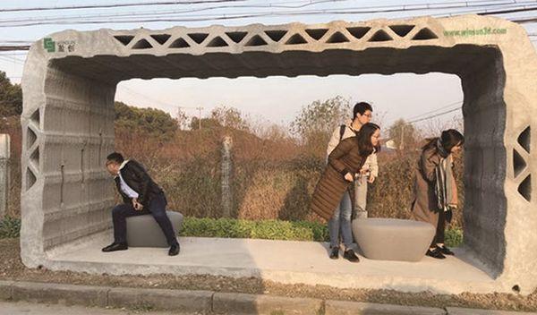 世界首个3D打印公交候车亭在上海金山投入使用