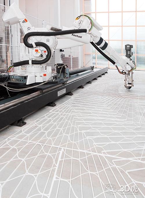 Aectual使用机器人3D打印机打印水磨石地板