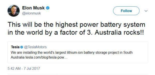 特斯拉建全球最大锂电池储能系统 可支持3万户家庭用电
