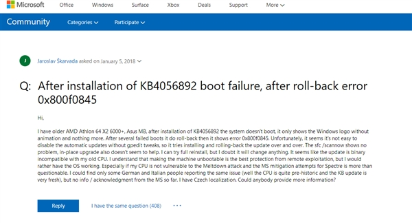 Win10 CPU漏洞补丁造成部分AMD平台变砖:用户没法忍