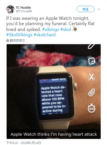 NFL比赛太激动人心 Apple Watch警告球迷可能需要防范心脏问题