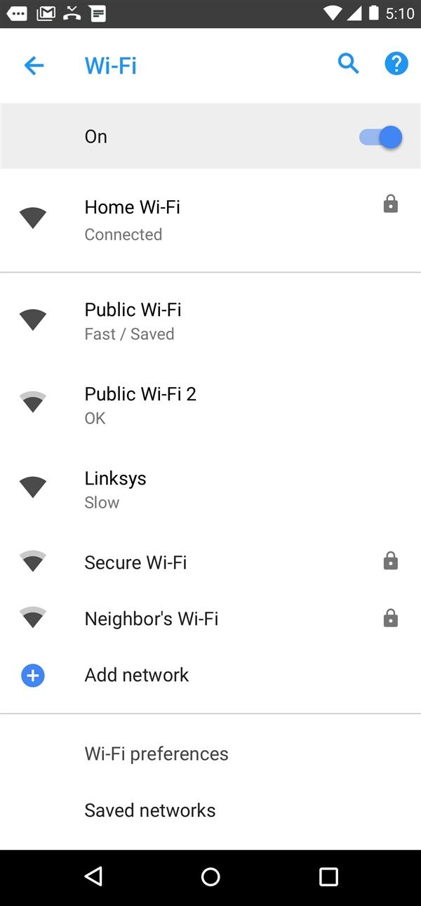 安卓8.1优化公共Wi-Fi:可标记速度快慢、方便优选