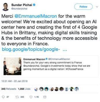 马克龙成法国AI界网红?谷歌、Facebook纷纷与法国建立AI合作关系