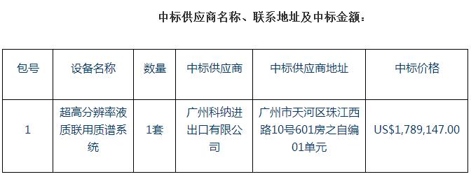 广州生物院1146万采购一套超高分辨率液质联用质谱系统