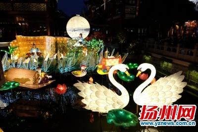 扬州花灯再亮上海豫园九曲桥 灯彩宣传城市理念
