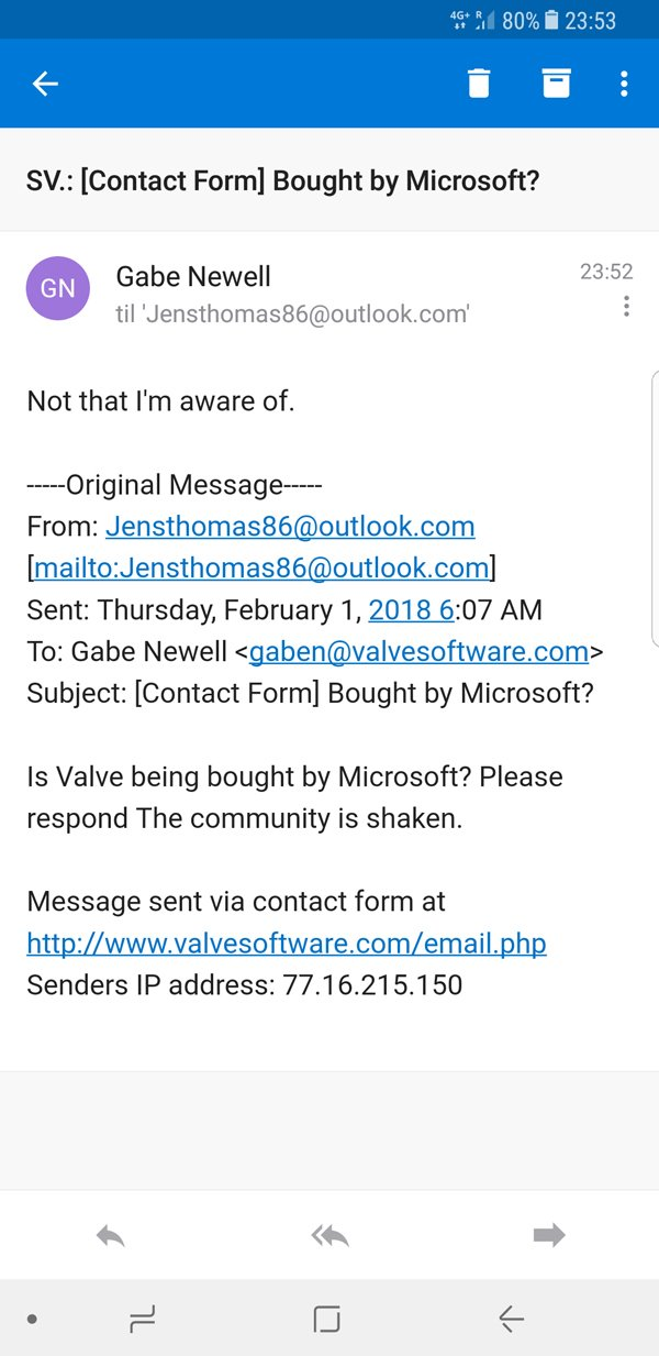 "Valve创始人""G胖""回应被微软收购传闻:据我所知没有"