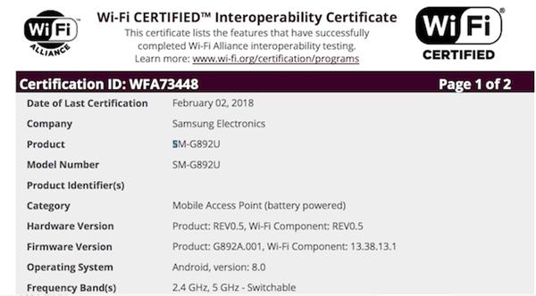 三星S8 Active安卓8.0版通过Wi-Fi联盟认证