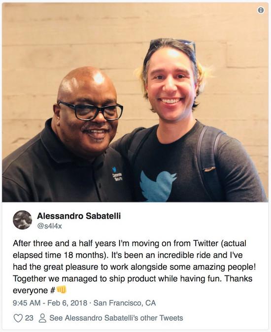 Twitter AR/VR 团队负责人 Alessandro Sabatelli 离职