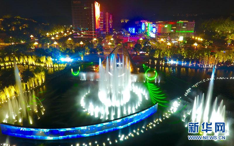 广州科学广场上演水舞声光秀