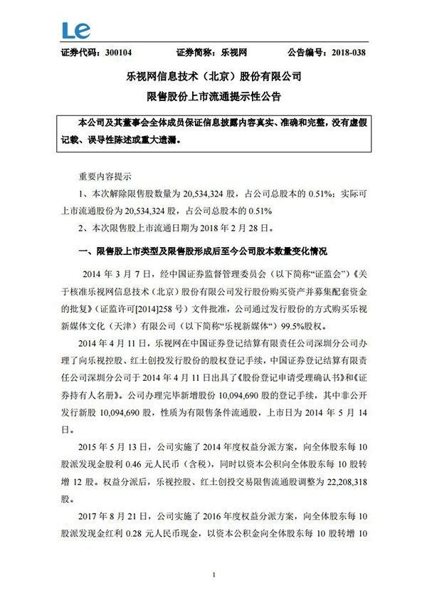 乐视:超过2053万股限售股将于2月28日解禁