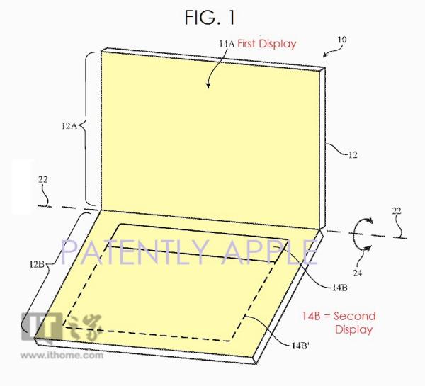 NDS既视感:苹果双屏显示专利曝光 或用在MacBook上