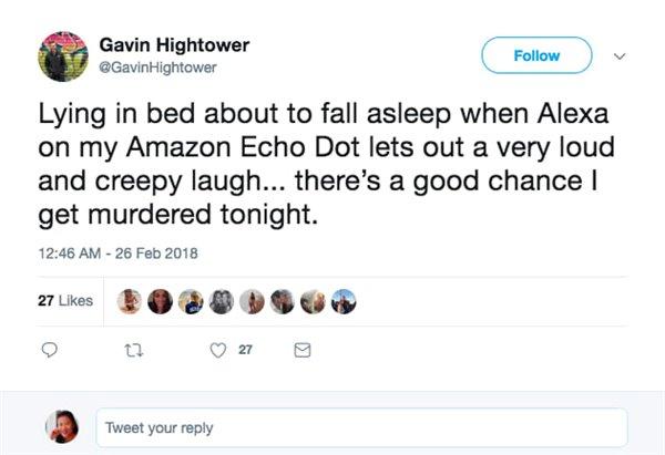 多名用户反映Alexa突然发出邪恶笑声