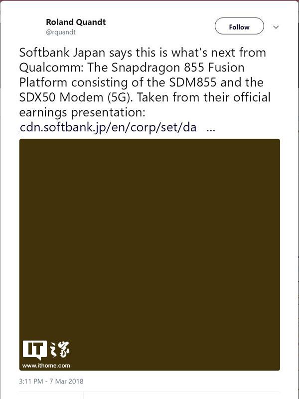 高通骁龙855处理器重要参数确认:将搭载5G X50基带