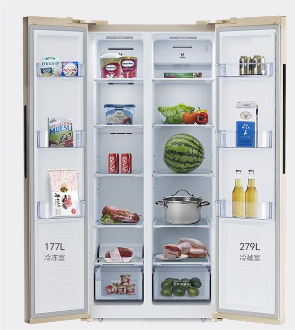 云米智能对开门冰箱首发:风冷无霜、456L