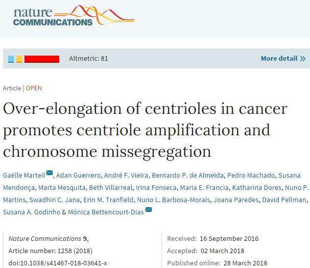 科学家发现癌细胞的致命弱点,中心粒的异常扩增诱发癌症