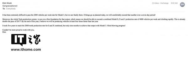马斯克:特斯拉Model 3产能无法达到预期目标
