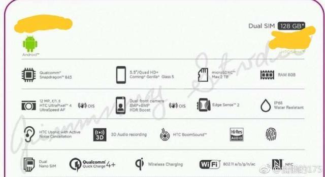 叫板三星S9!HTC新旗舰配置大曝光:骁龙845+8GB内存