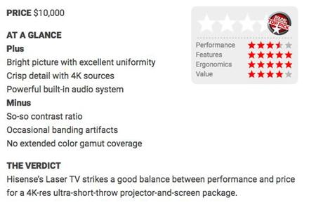 """美国专业影音评测机构评选:海信4K激光电视为""""首选产品"""""""