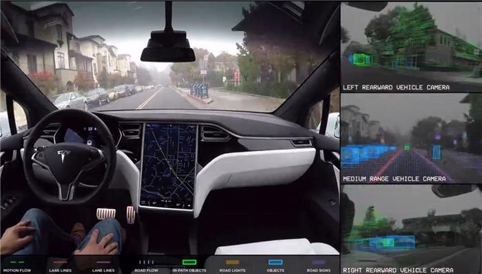 工程车图片流出 特斯拉视觉系统及完全自动驾驶模式界面曝光