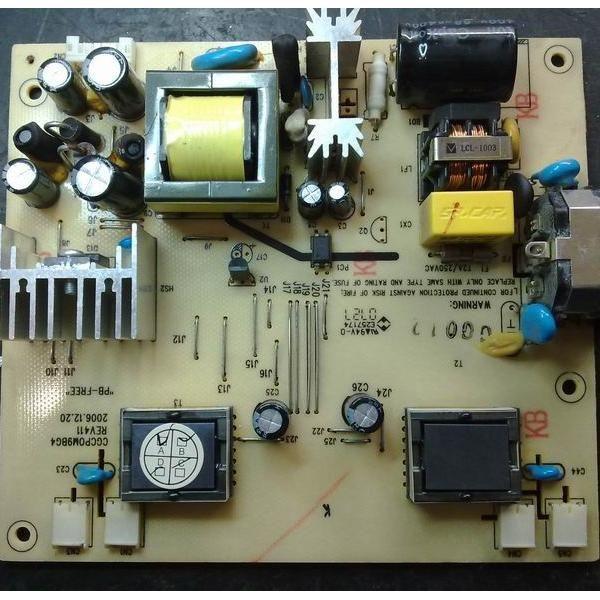电源高压板 将上述损坏的配件全部更换后,又把电源IC周边的元件又仔细检查了一遍,生怕有漏网之鱼,不然一通电又烧糊。装好板子通电。没有再炸机,但是指示灯一闪一闪,开关变压器附近有唧唧的声音。万用表测输出电压5V和12V都在波动,拔掉和主板的连线,5V和12V空载是稳定的。怀疑更换的OB2269CP不良,更换了一个OB2269CP还是如此,至此陷入困境。有网友说网购的OB2269CP可能不是正品,是用其它IC打磨的,可以用SG6841间接代换,但是要改元件参数。好吧,SG6841 在AOC早期的显示器上用得