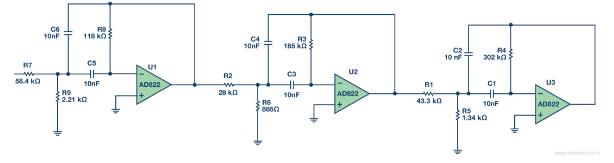 khz,6极点,0.5 db切比雪夫带通滤波器.