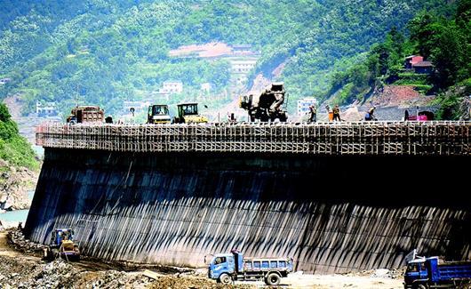 汉江第八级电站:孤山电站加快建设