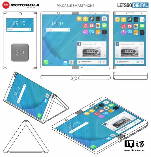 摩托罗拉新专利曝光:可变身平板的折叠手机